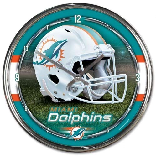 Hall of Fame Memorabilia Miami Dolphins Round Chrome Wall Clock ()