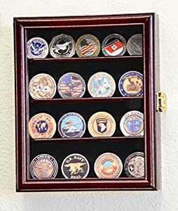 XS Military Challenge Coin Display Case Cabinet Holder Rack Box w/UV Protection -Cherry Finish from sfDisplay.com, LLC.