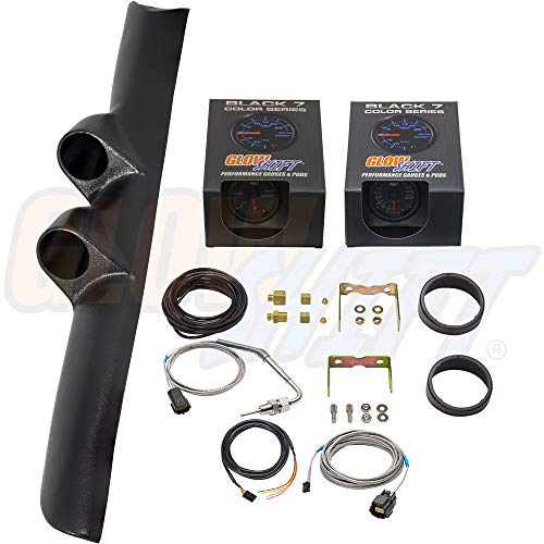 - GlowShift Diesel Gauge Package for 1994-1997 Dodge Ram Cummins 1500 2500 3500 - Black 7 Color 60 PSI Boost & 1500 F Pyrometer EGT Gauges - Black Full Size Dual Pillar Pod