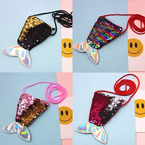 Price comparison product image Aviat Coin Purse,  4Pcs Imitation Mermaid Storage Bag Double Color Shiny Sequins Women Girls Street Fashion Cosmetic Bag Handbag Decor