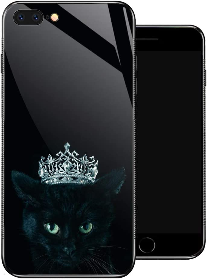 iPhone 8 Plus Case,Black Cat Queen iPhone 7 Plus Cases for Girls,Non-Slip Pattern Design Back Cover [Shock Absorption] Soft TPU Bumper Frame Support Case for iPhone 7/8 Plus 5.5-inch Crown Diamond