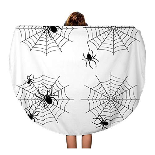 Semtomn 60 Inches Round Beach Towel Blanket Spiderweb