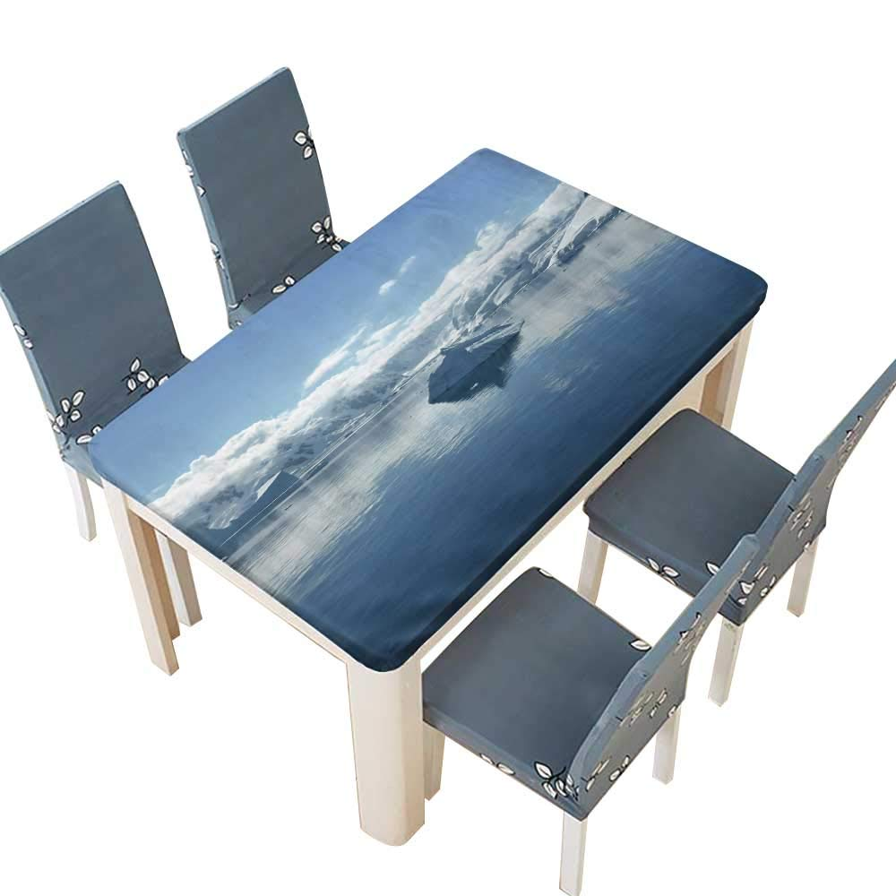 PINAFORE Indoor/Outdoor The Iceberg in Antarctic Peninsula Kitchen Tablecloth Picnic Cloth W41 x L80.5 INCH (Elastic Edge)