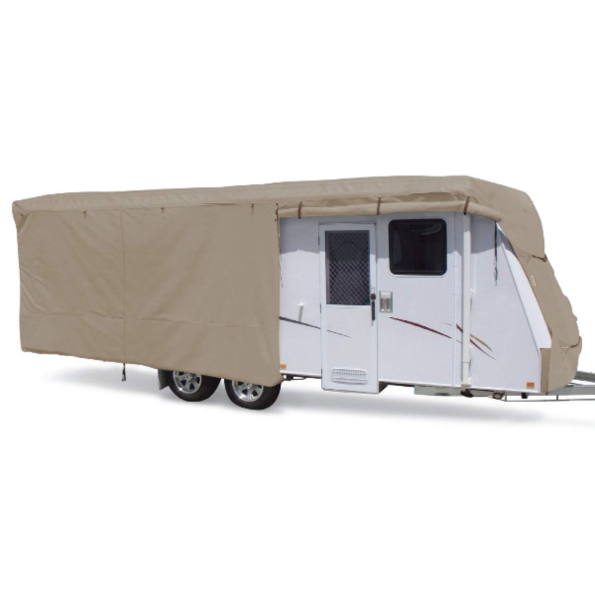 SUMMATES Travel Trailer Cover RV Cover,Color Gray,Beige,160g SSFS 4 Layer Polypropylene Fabric,fits Most Sizes (Beige, 20-22 Feet) by SUMMATES