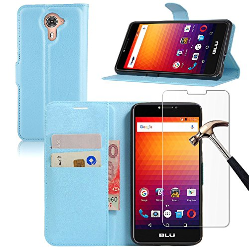 4g Nano Sleeve Leather (BLU R1 Plus Wallet Case with Screen Protector, Gzerma PU Leather Folio Flip Magnetic Stand Function with Card Slots Cover and [ Shatter-Proof ] [ Bubble Free ] Protective Film for BLU R1 Plus (Blue))