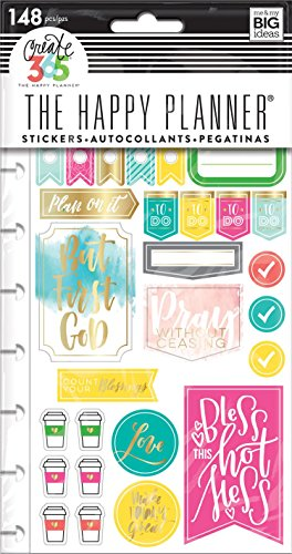 me & my BIG ideas  PPSP-88 Create 365 The Happy Planner Snap in Sticker Pad, Faith Gratitude