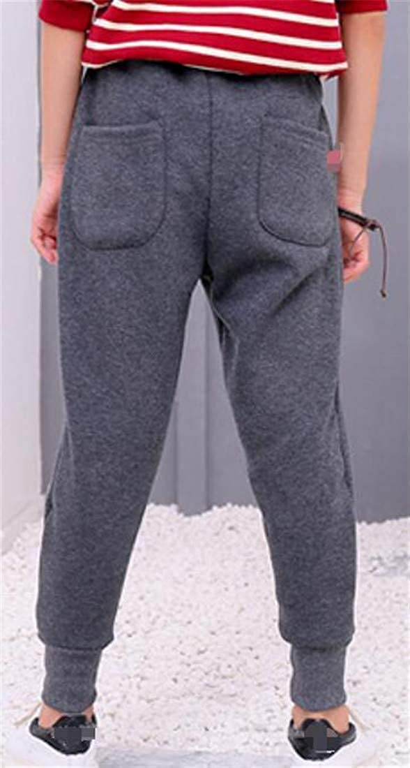 Joe Wenko Childrens Sweatpants Athletic Sherpa Lined Casual Embroideried Jogger Pants