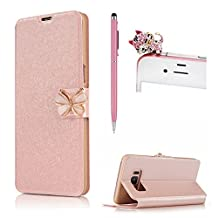 For Samsung Galaxy Note 5 Leather Case,SKYXD 3D Bowknot Buckle Scrub Flip Leather Wallet Matte Folio with Card Slot Holder Book Style Skin Case Cover for Samsung Galaxy Note 5+ Stylus + Cute Dust Plug,Rose Gold