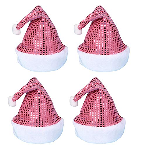 AOFITEE Sequin Santa Hat Sparkle Christmas Party Headwear for Adult Men/Women - Pink, Pack of 4