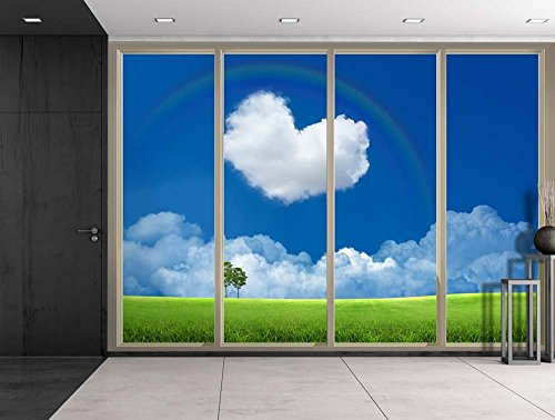 Green Field with a Heart Shaped Cloud and a Rainbow Over It Viewed From Sliding Door Creative Wall Mural Peel and Stick Wallpaper