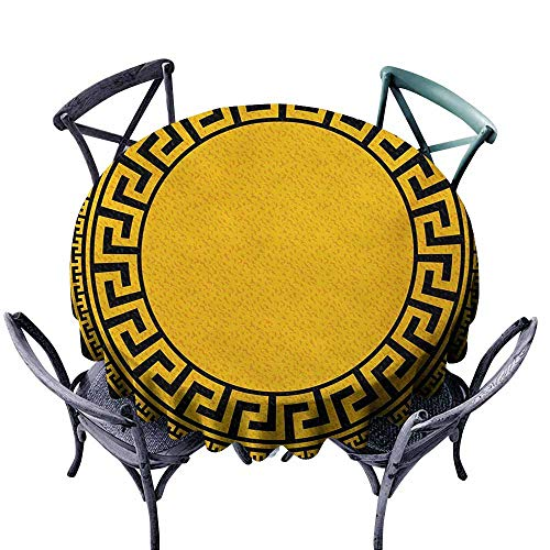 VIVIDX Water Table Cloth,Greek Key,Sun Inspired Big Circle with Antique Fret and Triangular Ornaments,Modern Minimalist,63 INCH,Charcoal Grey Marigold ()