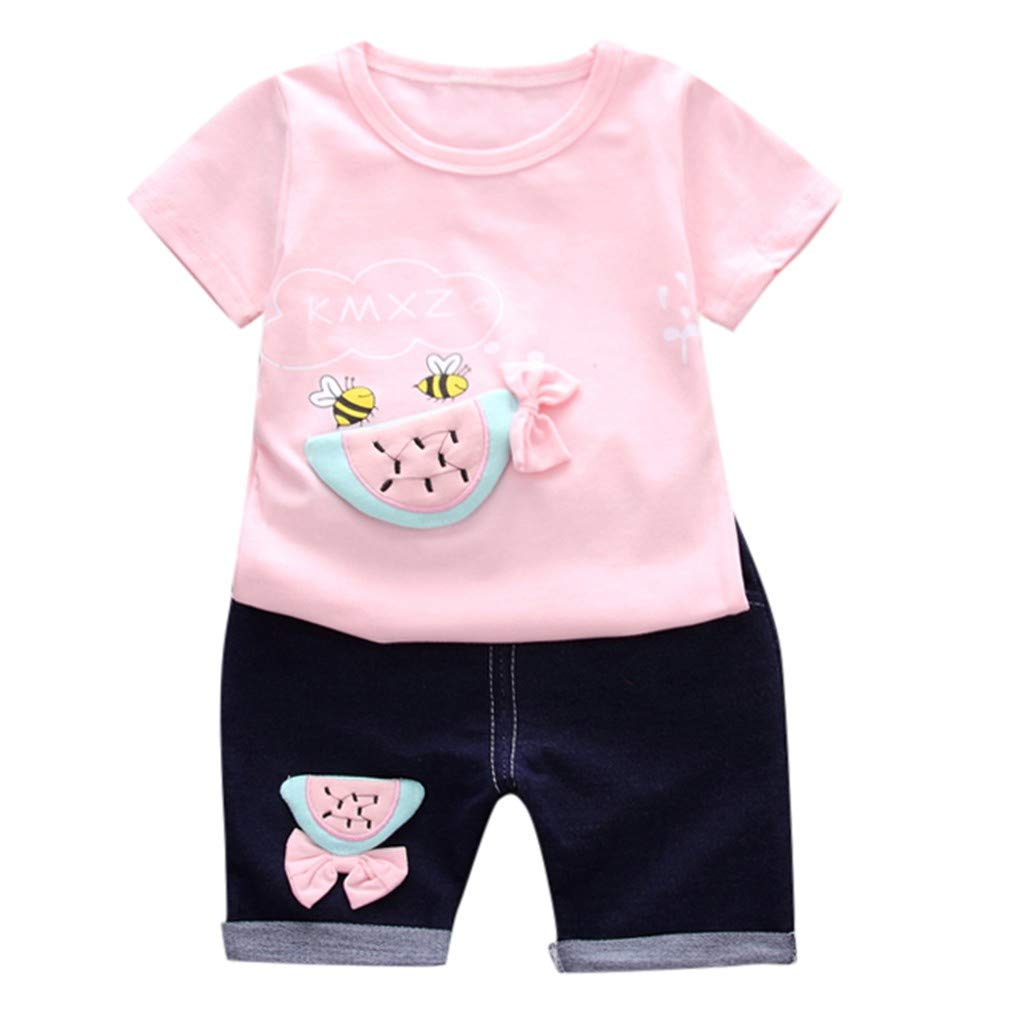CyhuluL Little Baby Cotton Short Sleeve Bee Watermelon Print T-Shirts+Shorts Summer Beachwear Outfits Set