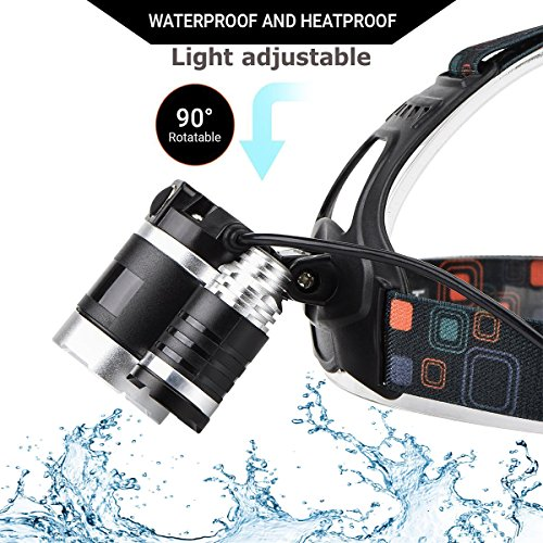 DABASO Rechargeable Headlamp,Adjustable Headband and 90 Degree Moving Light,8000 Lumen Waterproof LED Headlight with 4 Brightness Modes for Running Camping Cycling Fishing Hunting Climbing by DABASO (Image #3)