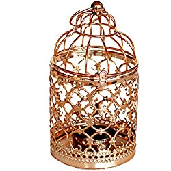 Qingsun Metal Tealight Candle Holder Lanterns Creative Wedding Home Table Decoration Birdcage White (Rose Gold-A)