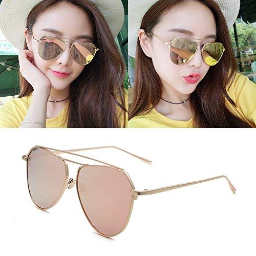 Pink Anti Protección Hombres sol Polarizada UVA UV 100 WYYY Luz Clásico Marco Decoración Redondo Sra Gris Protección de Solar Retro Color gafas Espejo qxCTZB
