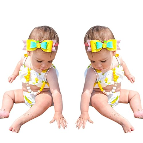 Vovotrade Neugeborene Kleinkind Baby Mädchen Print Strap Tops Shorts Kleider Outfits Bademode Set für 0,5 bis 2 Jahre alt