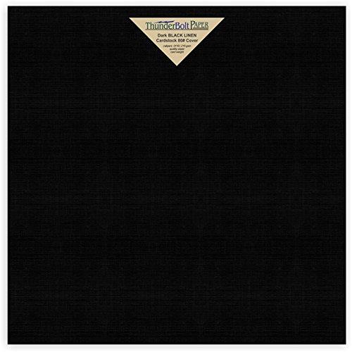 25 Black Linen 80# Cover Paper Sheets - 12