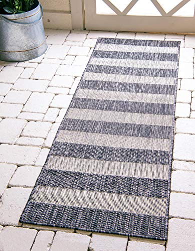 Unique Loom Outdoor Striped Collection Modern Transitional Indoor and Outdoor Flatweave Charcoal Gray  Runner Rug (2' 0 x 6' 0) (Indoor Outdoor Rugs Striped)