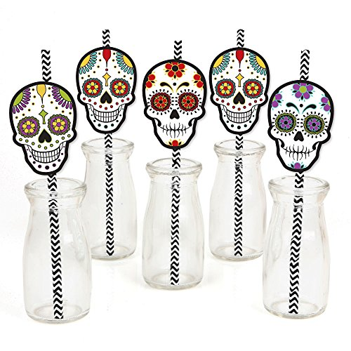 Day of The Dead - Paper Straw Decor - Halloween Sugar Skull Party Striped Decorative Straws - Set of -