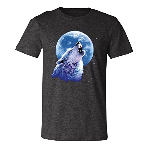 Call of The Wild Howling The Full Moon Men's T-Shirt Alpha Wolf Tee Dark Grey Heather Medium