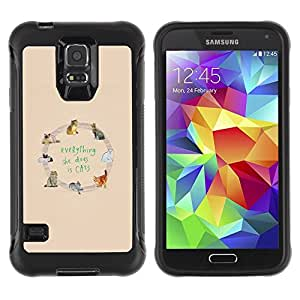 Suave TPU Caso Carcasa de Caucho Funda para Samsung Galaxy S5 SM-G900 / cats love yellow animal pattern text / STRONG