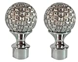 Drapery Curtain Rod Plastic Ends Silver Round Shape Finials 2 Pieces