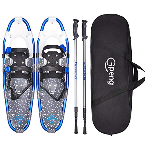 Gpeng 14/21/25/27/30 Snowshoes Snow Shoes for Men Women Youth Kids,Lightweight Aluminum Alloy Snowshoes + Anti-Shock Adjustable Snowshoeing Poles + Free Carrying Tote Bag