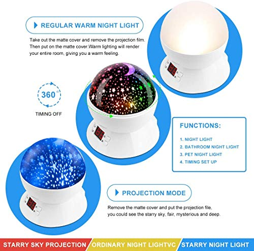 Star Projector Night Lights for Kids with Timer, Room Lights for Kids Bedroom, Gifts for 1 2 3 4 5 6 7 8 9 10 Year Old…
