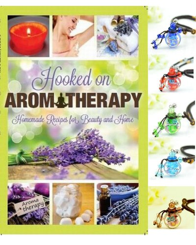 Aromatherapy Jewelry & Hooked on Aromatherapy Recipe Book for Beauty & Home (Cedar Bottle)