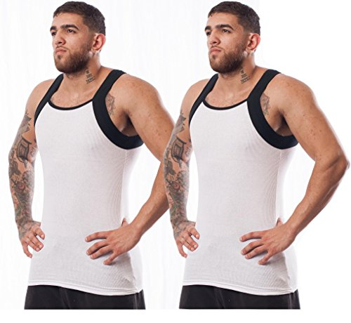 Different Touch 2 Pack Men's G-Unit Style Tank Tops Square Cut Muscle Rib A-Shirts (2XL, White/Black) (G Unit Clothes)