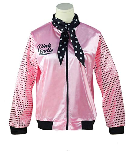 50s Womens Grease Bling Sequins Pink Ladies Jacket Fancy Halloween Costume (S, Pink) -