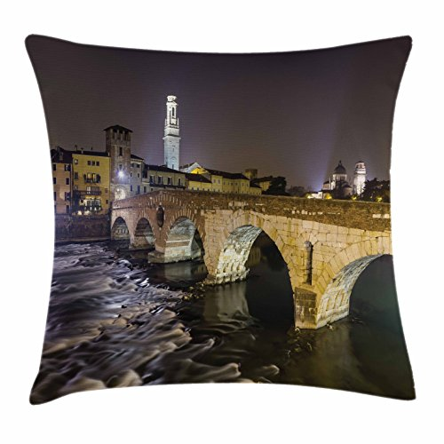 Landscape Throw Pillow Cushion Cover by Ambesonne, Ponte Pietra on River Adige Ancient Roman Bridge in the Old Town of Verona Italy, Decorative Square Accent Pillow Case, 36 X 36 Inches, Black (Verona Modern Sofa)