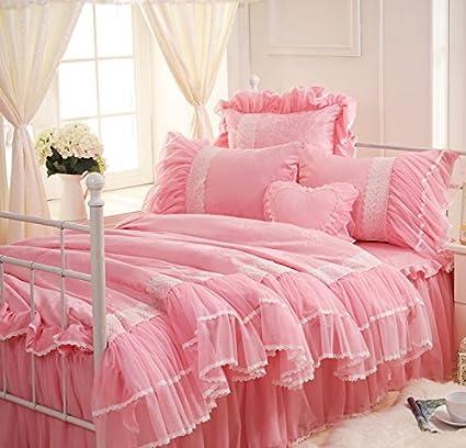 Amazon.com: Sisbay Girls Beautiful Wedding Bedding Set,princess Pink ...
