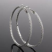 ERAWAN Vintage Women Large Round Hoop Dangle Earring Crystal Rhinestone Jewelry Gift EW sakcharn (Silver)