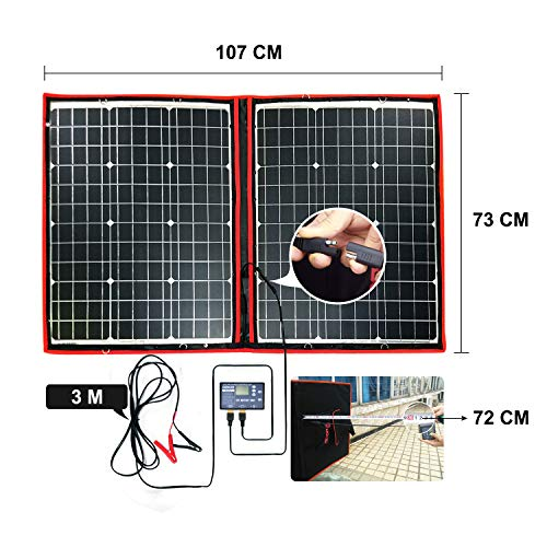 DOKIO 100 Watts 12 Volts Monocrystalline Foldable Solar Panel with Charge Controller by DOKIO (Image #5)