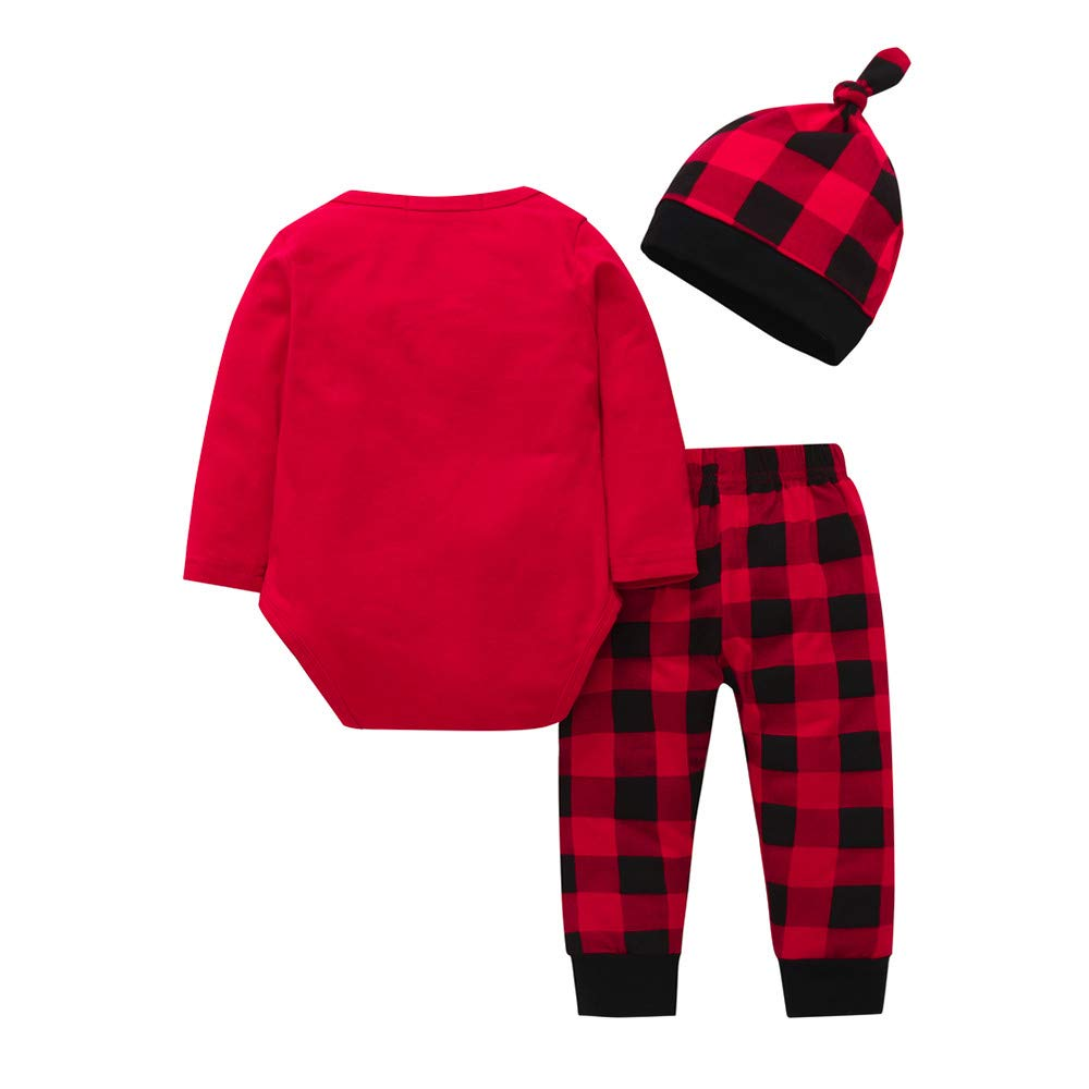 Amazon.com: Pumsun ❤ Newborn Baby Girls Boys Letter Tops Prin Plaid Pants Cap Christmas Clothes Sets: Clothing
