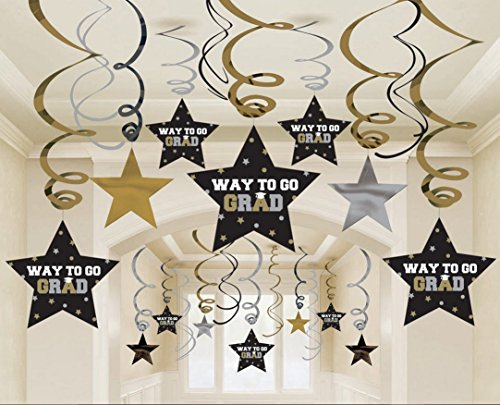 Graduation Star Swirl Decorations (Black/Silver/Gold) Party Accessory 30 pieces (Two-Pack) (Accessories Graduation Party)