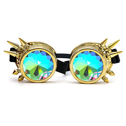 FIRSTLIKE Festivals Kaleidoscope Rainbow Glasses Prism Sunglasses Goggles -