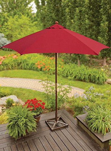 (Buffaloe Creek Sales 9 Ft Wood Market Umbrella w/Double Pulley System ~ Red SedonaNEW )