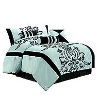 Chezmoi Collection - Juego de edredón de cama en bolsa de color azul y negro, con 7 piezas