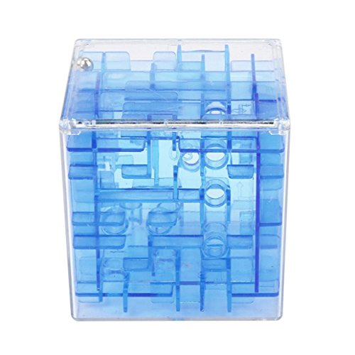 HANYI Fidget 3D Cube Puzzle Maze Toy Hand Fun Brain Game Challenge Game Case Box, As a Piggy Bank (Blue - Maze Ball Tracker