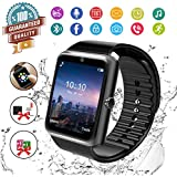 Smart Watch,Bluetooth Smartwatch Touch Screen Wrist Watch with Camera/SIM Card Slot,Waterproof Phone Smart Watch Sports Fitness Tracker Compatible Android Phones (Black)