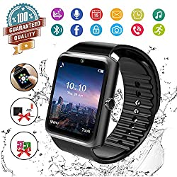 Smart Watch Bluetooth Smartwatch Touch Screen Wrist Watch With Camera Sim Card Slot Waterproof Smart Watch Sports Fitness Tracker Android Phone Watch Compatible With Android Phones Samsung Black