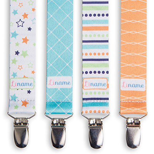 Liname Pacifier Clip for Boys with Bonus eBook  4 Pack Gift Packaging  Premium Quality amp Unique Design  Pacifier Clips Fit All Pacifiers amp Soothers  Perfect Baby Gift