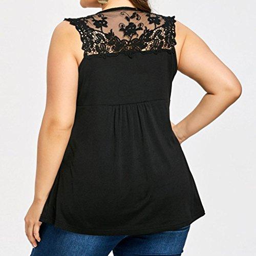 Gilet Chemisier XL Sexyville Vest T Cher Shirt Manche Chic Taille Mode Femme Noir Appliqu sans pissure Dentelle Pas Grande Dbardeur Et ZqRZnvrwg