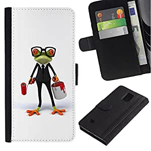 KingStore / Leather Etui en cuir / Samsung Galaxy Note 4 IV / Blanco Gafas rana inteligente Trabajo
