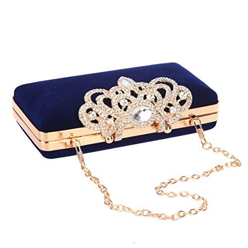 For Black Blue Evening And Velvet Women Bag Bonjanvye Shining Crown Purse Clutch vPgxx8qw