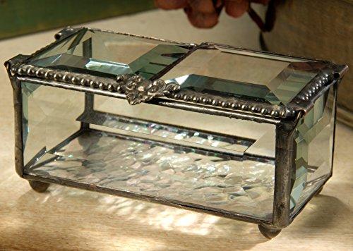 J Devlin Box 676 Clear Beveled Glass Box Double Hinged Lid Keepsake Jewelry Trinket Beaded Heart Trinket Box