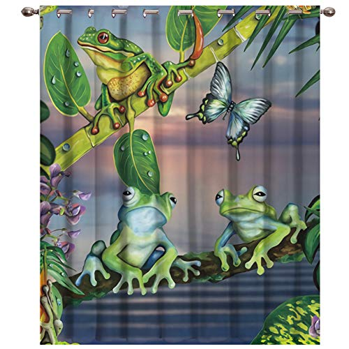 """BABE MAPS Blackout Curtains with Sliver Grommet 1 Panel Green Leaf Branch Frog Butterfly Curtain Window Coverings Thermal Insulated Light Blocking Curtains for Living Room 52""""x63"""""""