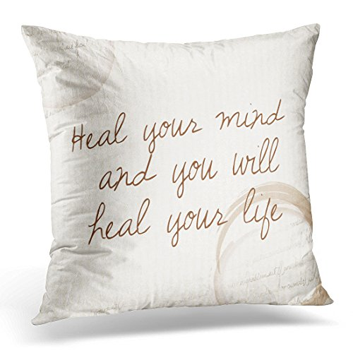 Golee Throw Pillow Cover Health Positive Affirmation of Law Attraction Heal Your Mind and You Will Life Quote Mental Decorative Pillow Case Home Decor Square 18x18 Inches Pillowcase